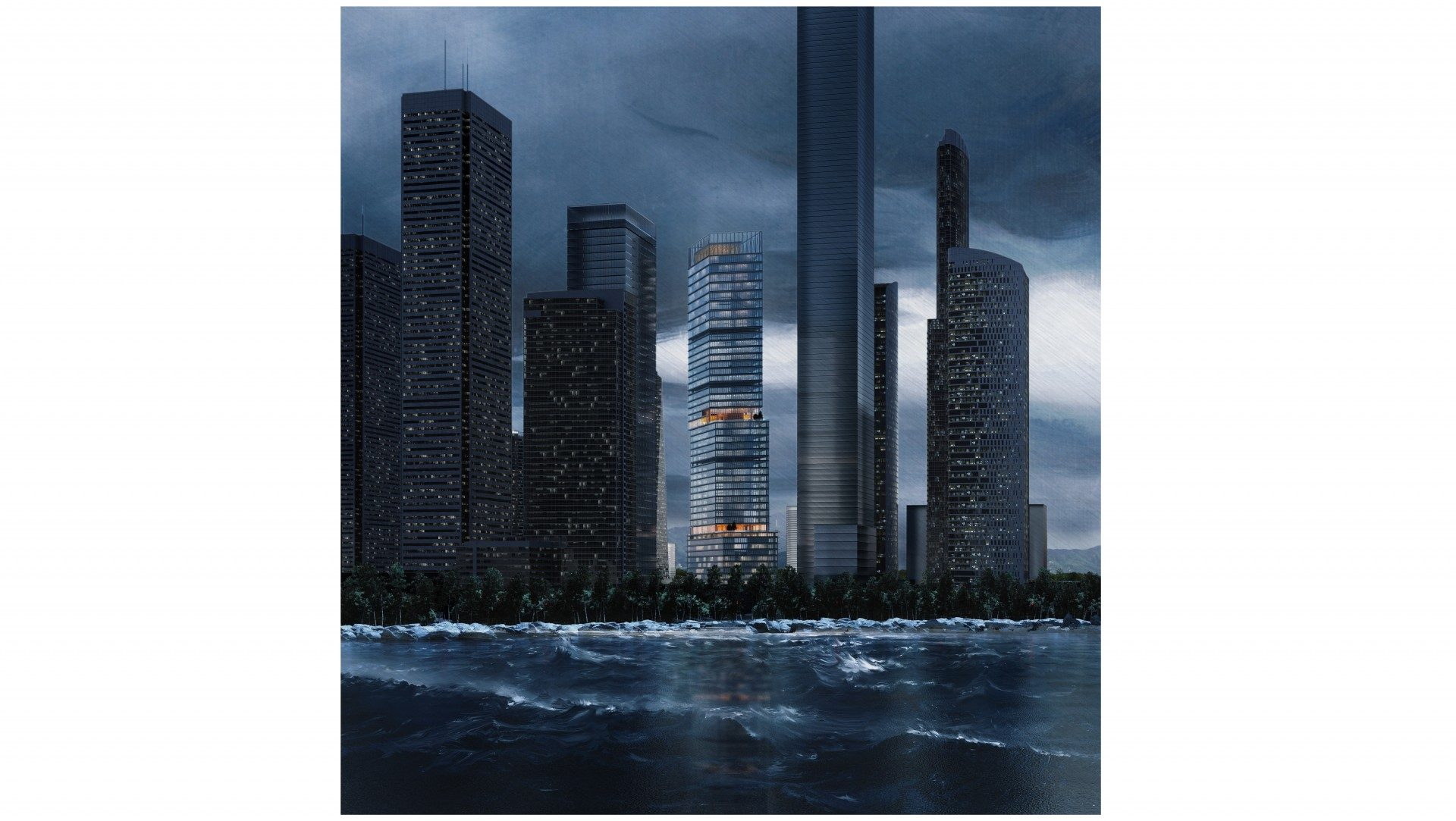 tower at rain