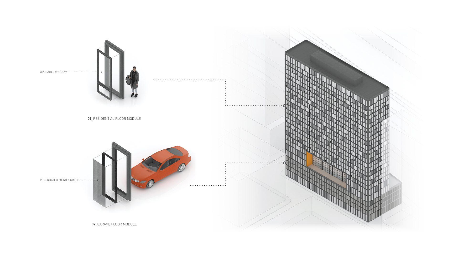 24_The Frame_Residential vs Parking Panels